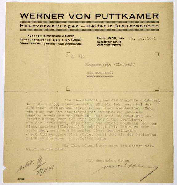 Schreiben des Vormundes von Hans Goldmann an die Siemens-Verwaltung, Berlin, 21. November 1941