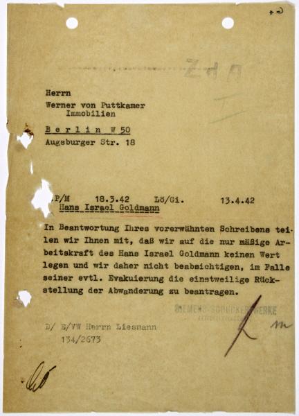 Schreiben der Firma Siemens an den Vormund von Hans Goldmann, Berlin, 13. April 1942.