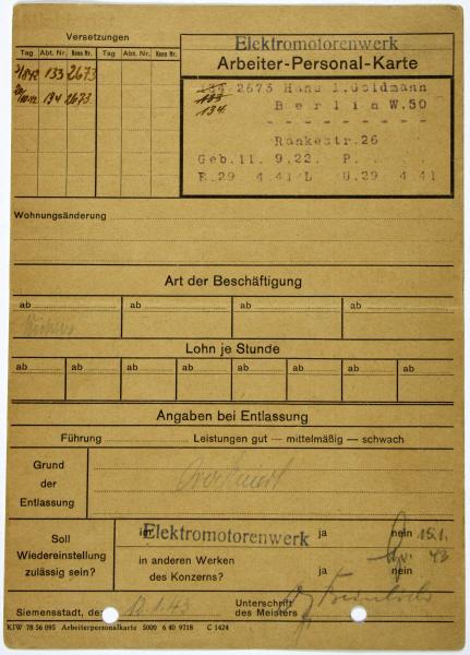 Zwangsarbeitseinsatz von Hans Goldmann bei Siemens
