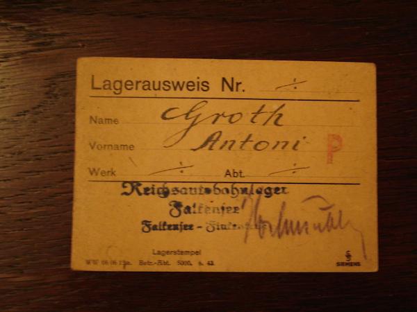 Lagerausweis von Antoni Grot für das Reichsautobahnlager Falkensee © Fundacja Ośrodka Karta, Warschau