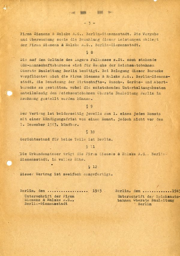 Vertrag Lager Falkensee vom 1. Oktober 1943 © Siemens Historical Institute, Sign. 18625-4