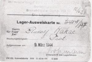 Personalausweis für den tschechischen Zwangsarbeiter Rudolf Kakac, 9. März 1944 © Dokumentationszentrum NS-Zwangsarbeit/Sammlung Berliner Geschichtswerkstatt