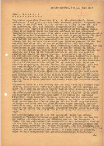 """Zeugenaussage von Ilsa Haak, Zwangsarbeiterin im """"Geschlossenen Arbeitseinsatz"""" bei Siemens, über Hanns Benkert, Berlin, 11. März 1947 © Landesarchiv Berlin, B Rep. 031-01-02, Nr. 7200 (Bd. 2)"""