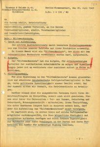 Ein Schreiben über die Arbeitsinhalte sowie Anforderungen des Hilfswerkschutzes vom 20. Juli 1943, Berlin-Siemensstadt. © Siemens Historical Institute Berlin, SAA 4266