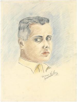 Selbstporträt, Zeichnung von Tiziano Di Leo, 1945 © Privatbesitz