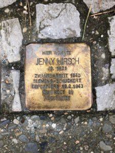 Stolperstein Jenny Hirsch, Berlin, 2021 © Dokumentationszentrum NS-Zwangsarbeit