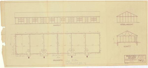 Bauzeichnung des KZ Haselhorst in Siemensstadt, Berlin 12. Mai 1944, 1:100 © Landesarchiv Berlin, B Rep. 031-01-02, Nr. 7200 (Bd. 9)